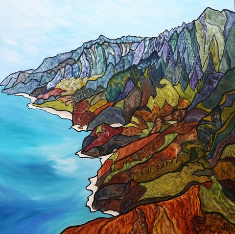Virtually There - Na Pali Coast, Kauai by Miranda Jane Caird, Acrylic, 2016